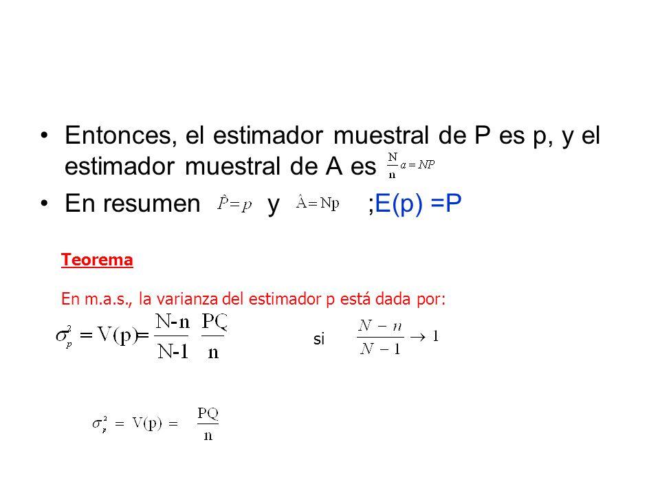 Entonces, el estimador muestral de P es p, y el estimador muestral de A es