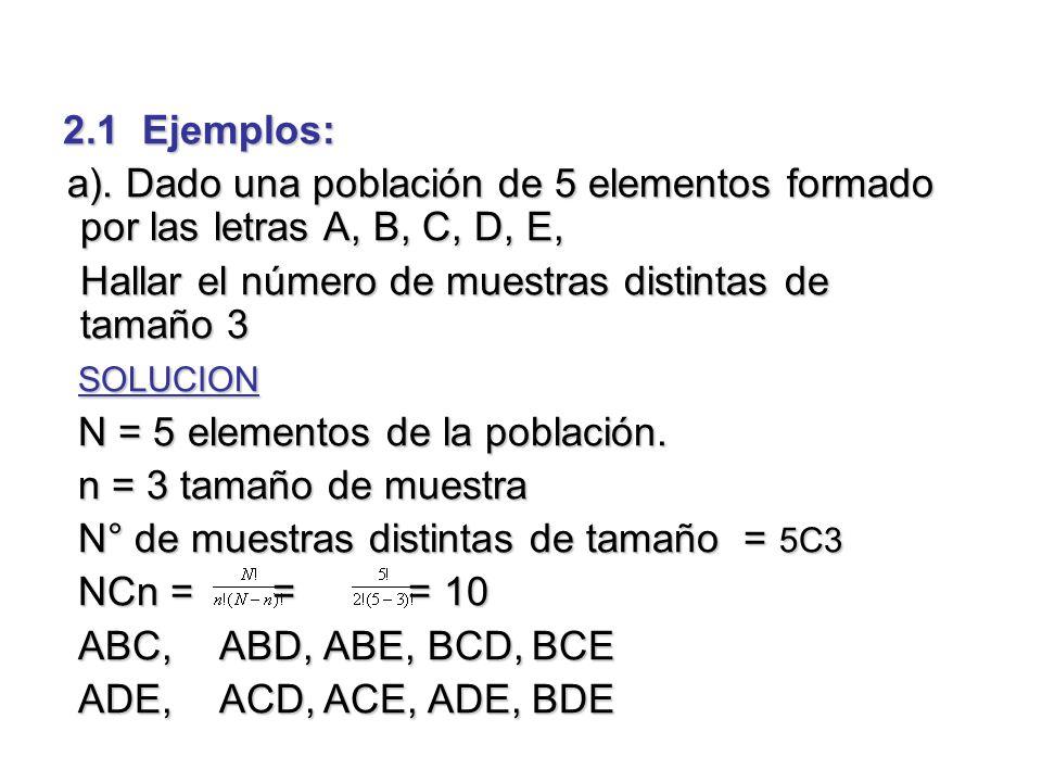 2.1 Ejemplos: a). Dado una población de 5 elementos formado por las letras A, B, C, D, E, Hallar el número de muestras distintas de tamaño 3.