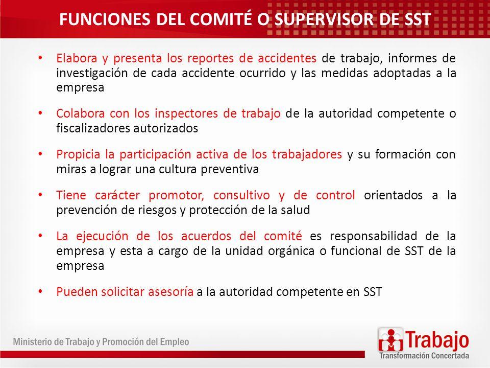 FUNCIONES DEL COMITÉ O SUPERVISOR DE SST