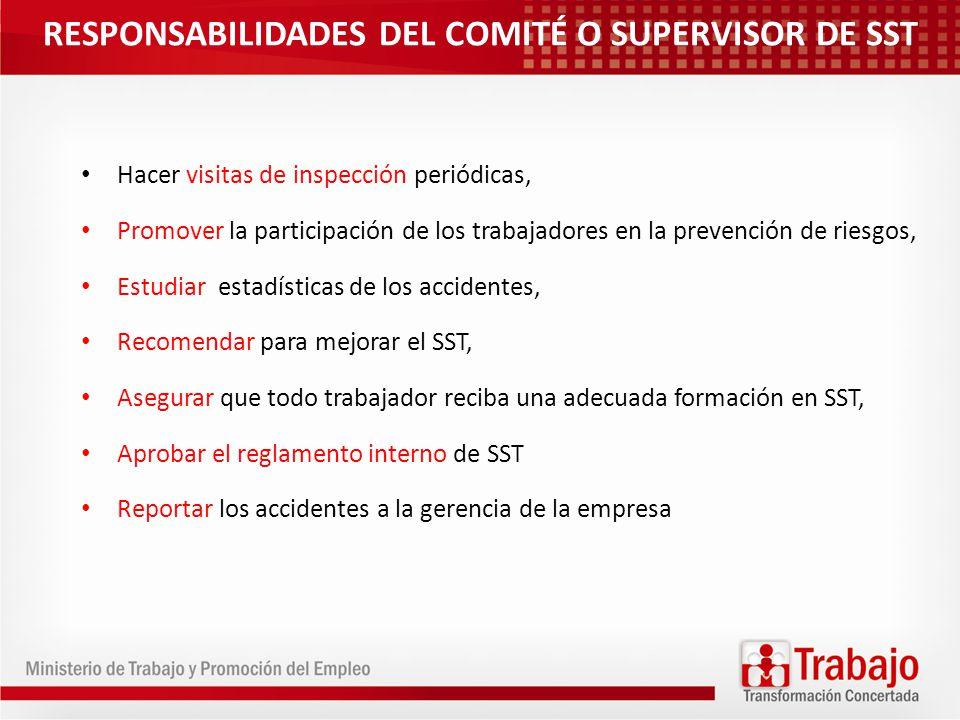 RESPONSABILIDADES DEL COMITÉ O SUPERVISOR DE SST