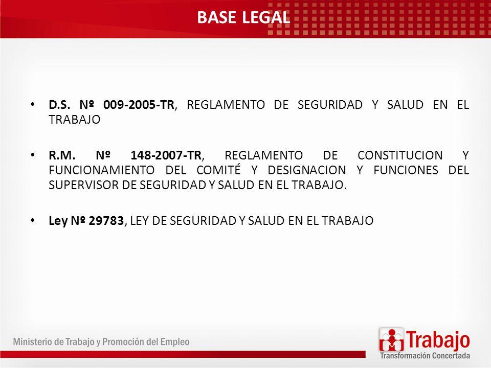 BASE LEGAL D.S. Nº 009-2005-TR, REGLAMENTO DE SEGURIDAD Y SALUD EN EL TRABAJO.