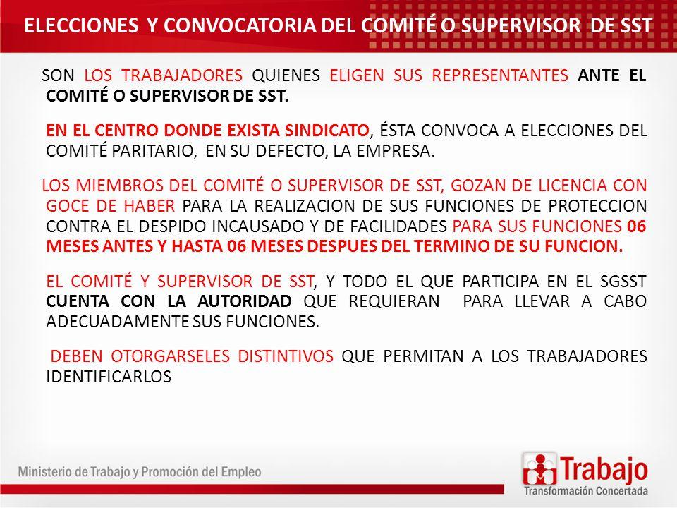 ELECCIONES Y CONVOCATORIA DEL COMITÉ O SUPERVISOR DE SST