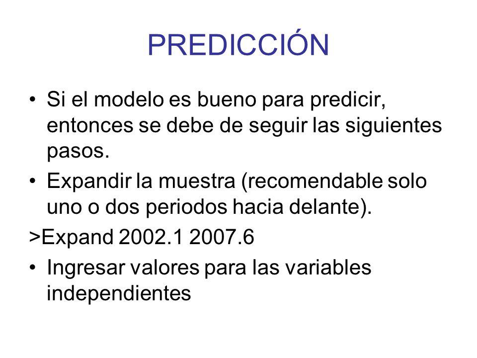 PREDICCIÓN Si el modelo es bueno para predicir, entonces se debe de seguir las siguientes pasos.