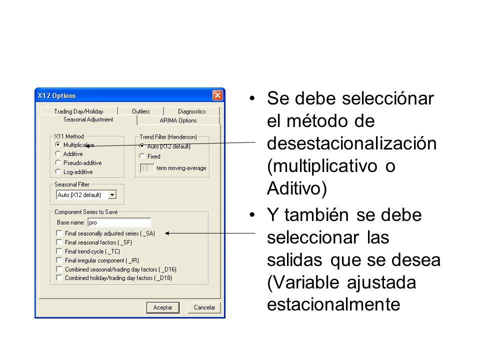 Se debe selecciónar el método de desestacionalización (multiplicativo o Aditivo)
