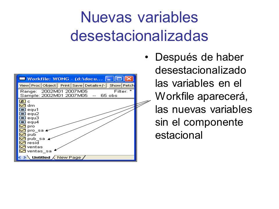 Nuevas variables desestacionalizadas
