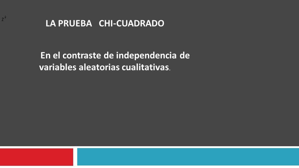 LA PRUEBA CHI-CUADRADO