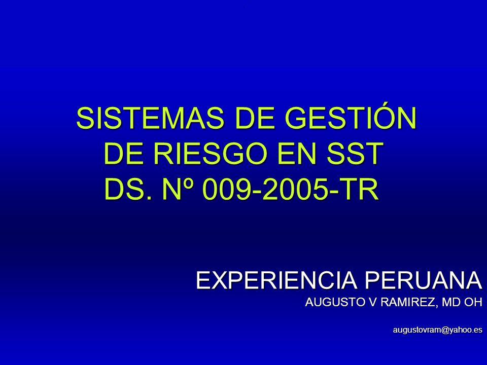 DE RIESGO EN SST DS. Nº 009-2005-TR SISTEMAS DE GESTIÓN