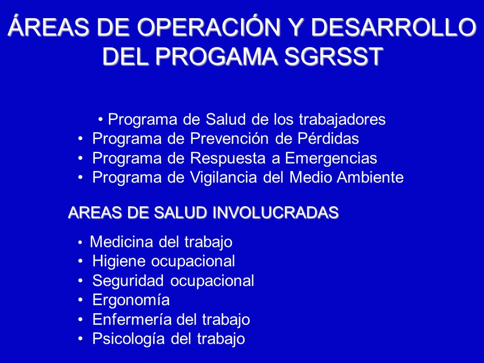ÁREAS DE OPERACIÓN Y DESARROLLO DEL PROGAMA SGRSST