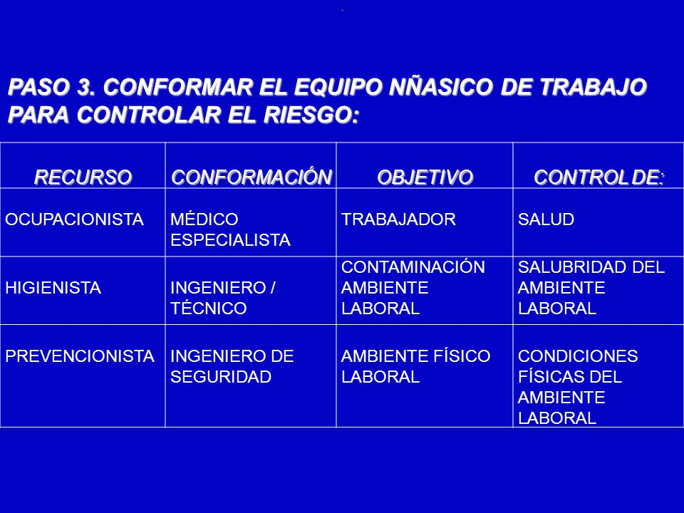 . PASO 3. CONFORMAR EL EQUIPO NÑASICO DE TRABAJO PARA CONTROLAR EL RIESGO: RECURSO. CONFORMACIÓN.