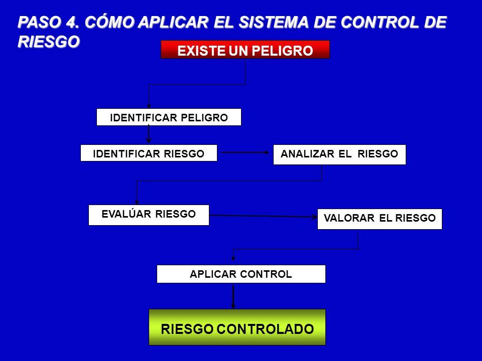 PASO 4. CÓMO APLICAR EL SISTEMA DE CONTROL DE RIESGO