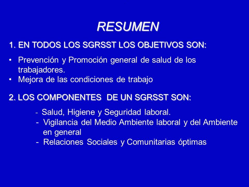 RESUMEN EN TODOS LOS SGRSST LOS OBJETIVOS SON: