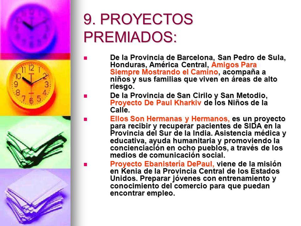 9. PROYECTOS PREMIADOS: