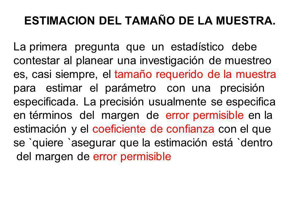 ESTIMACION DEL TAMAÑO DE LA MUESTRA.