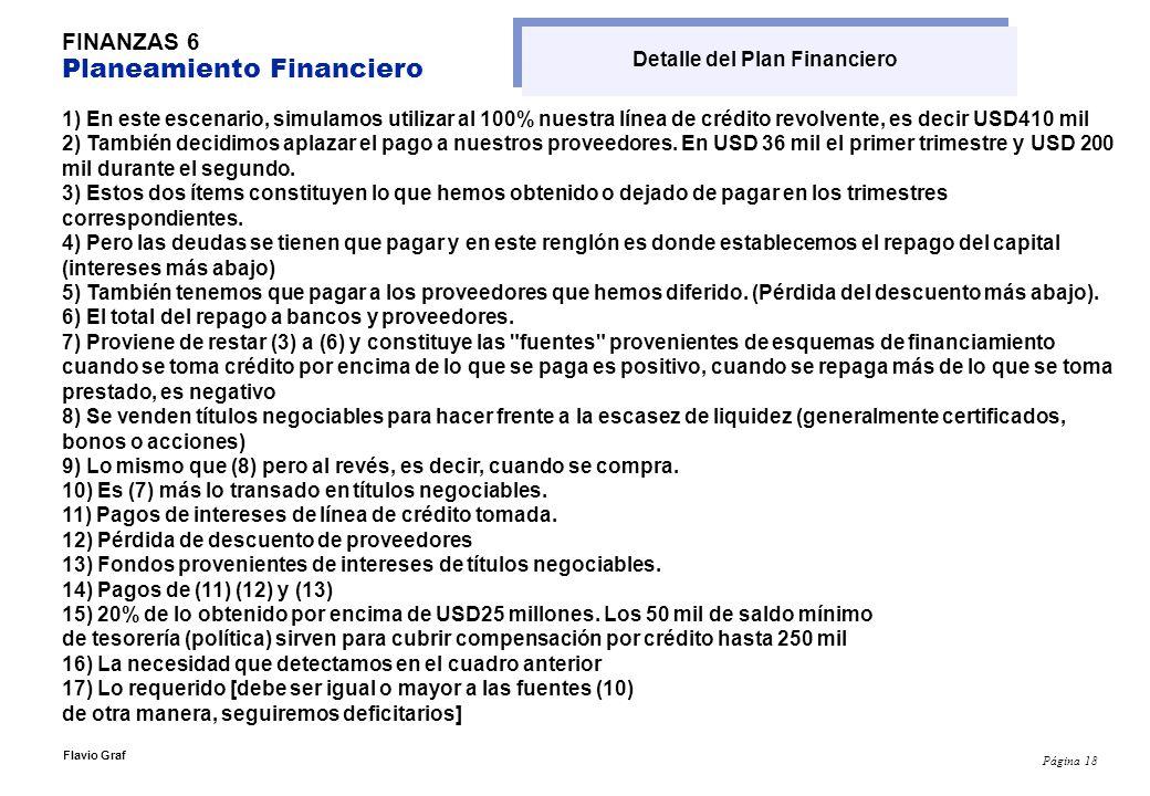 Detalle del Plan Financiero