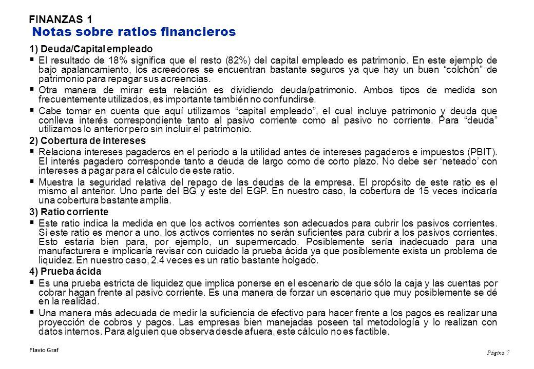 FINANZAS 1 Notas sobre ratios financieros