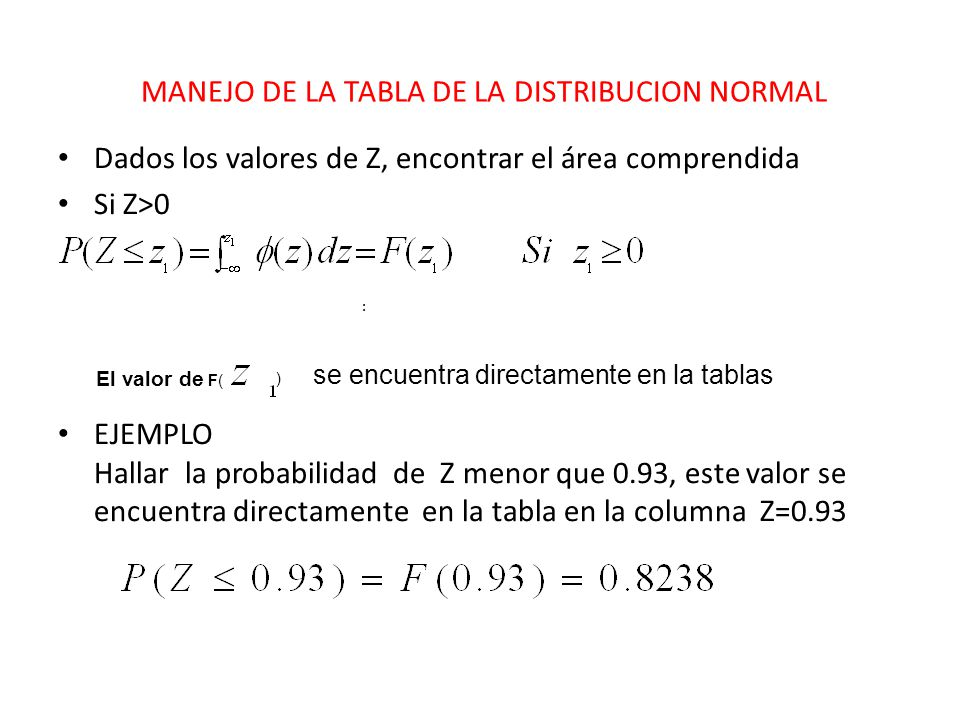 MANEJO DE LA TABLA DE LA DISTRIBUCION NORMAL