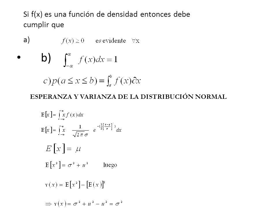 Si f(x) es una función de densidad entonces debe cumplir que a)