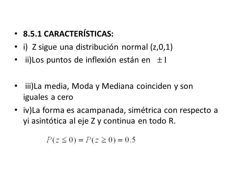 8.5.1 CARACTERÍSTICAS: i) Z sigue una distribución normal (z,0,1) ii)Los puntos de inflexión están en.