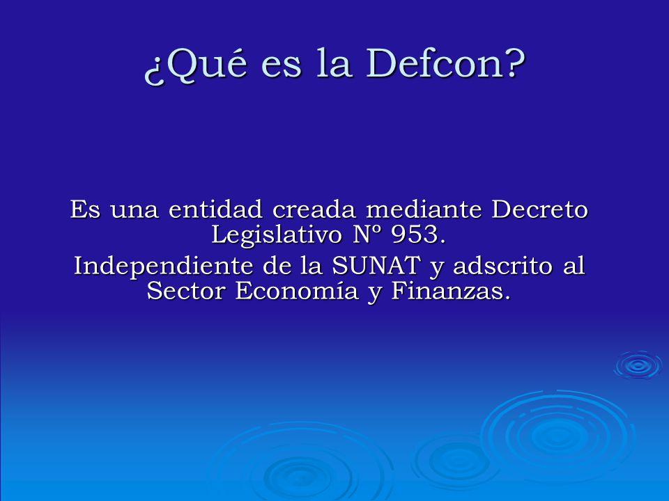 ¿Qué es la Defcon. Es una entidad creada mediante Decreto Legislativo Nº 953.