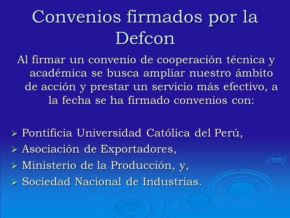 Convenios firmados por la Defcon
