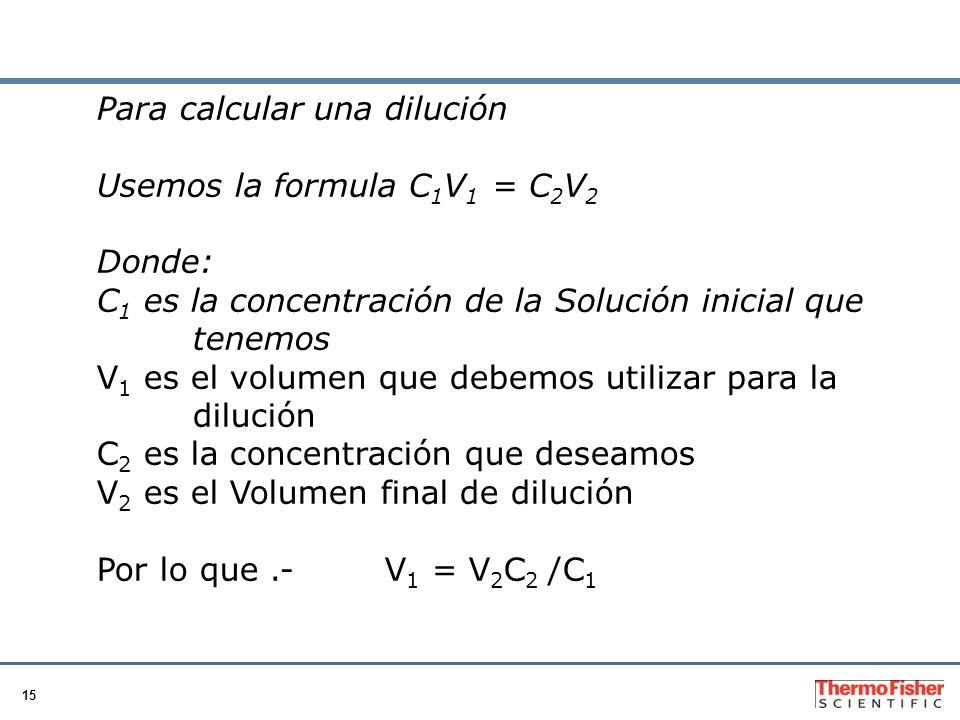 Para calcular una dilución