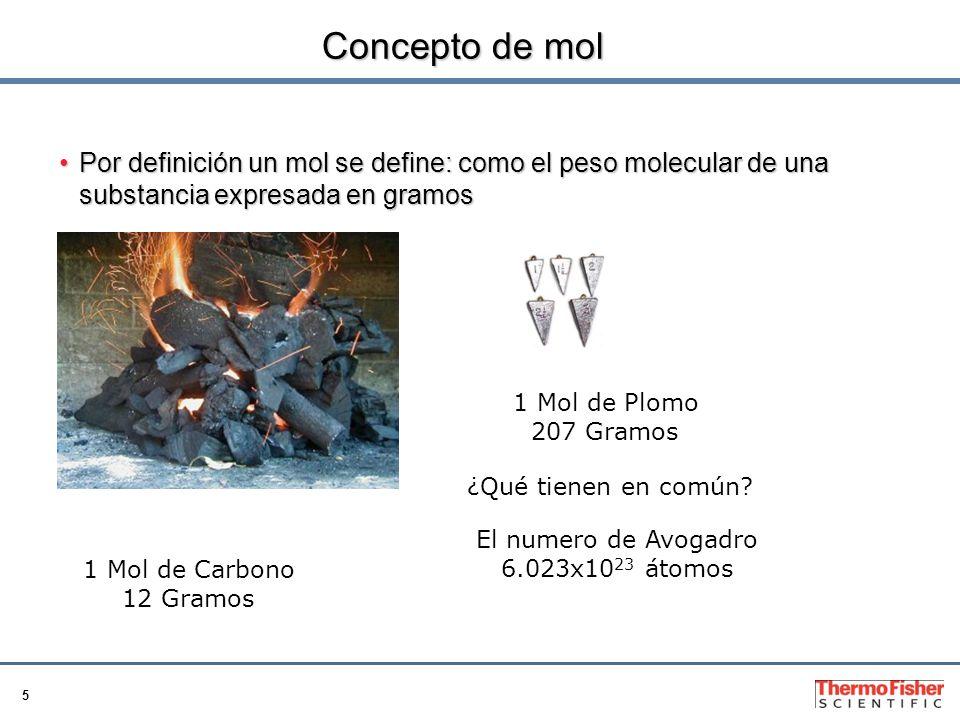 Concepto de mol Por definición un mol se define: como el peso molecular de una substancia expresada en gramos.