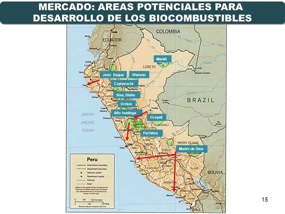 MERCADO: AREAS POTENCIALES PARA DESARROLLO DE LOS BIOCOMBUSTIBLES