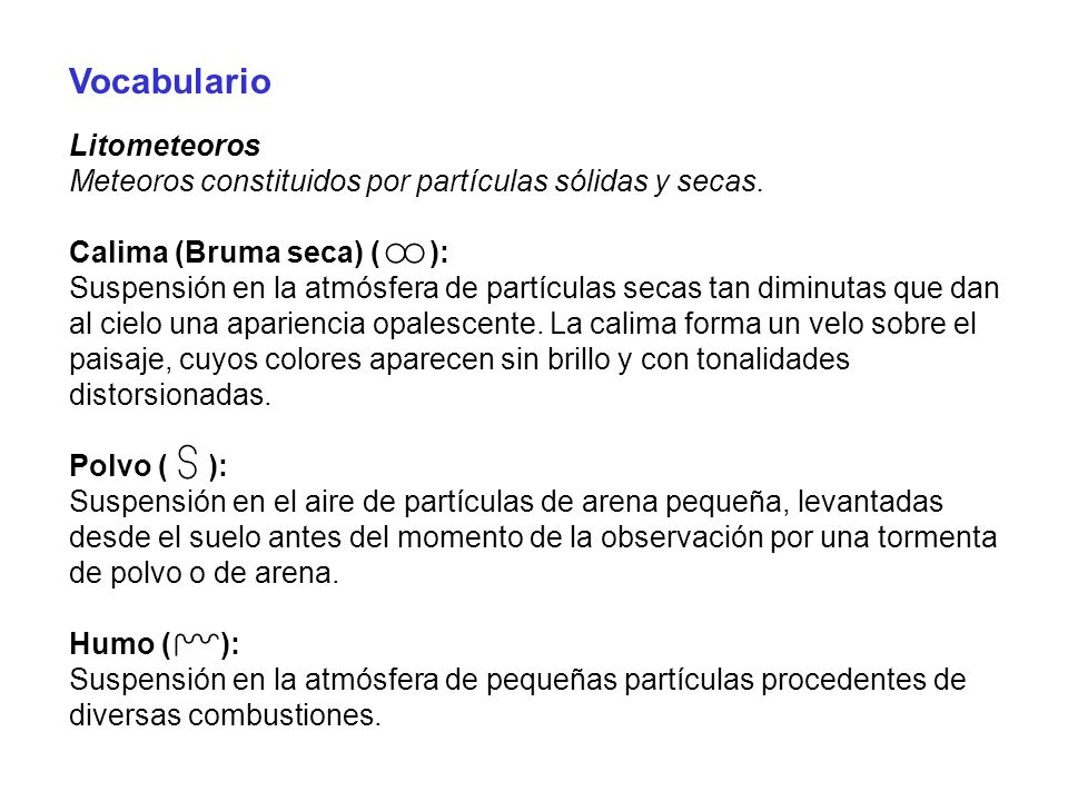 Vocabulario Litometeoros