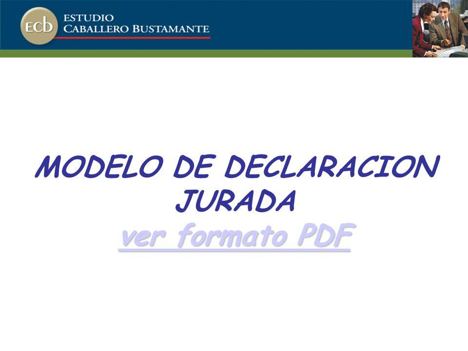 MODELO DE DECLARACION JURADA ver formato PDF