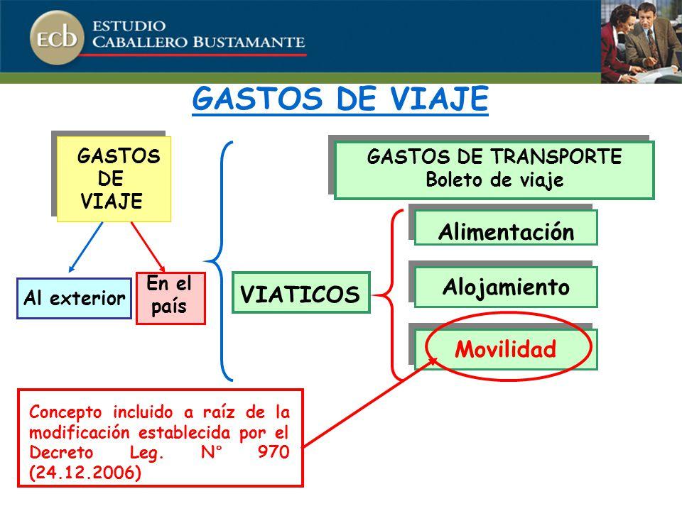 GASTOS DE VIAJE Alimentación VIATICOS Alojamiento Movilidad GASTOS