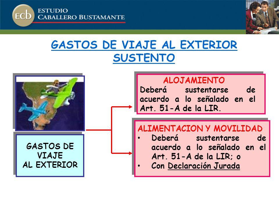 GASTOS DE VIAJE AL EXTERIOR SUSTENTO