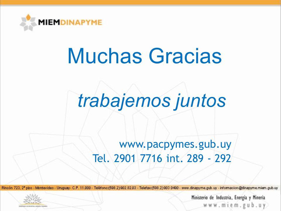 Muchas Gracias trabajemos juntos www.pacpymes.gub.uy