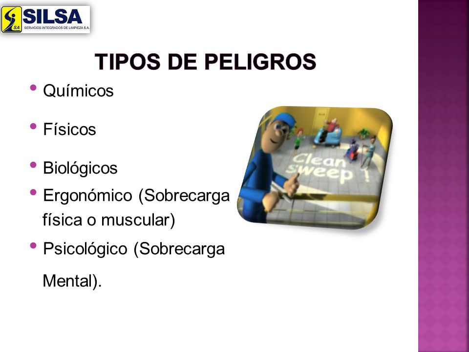 tipos de peligros Químicos Físicos Biológicos Ergonómico (Sobrecarga
