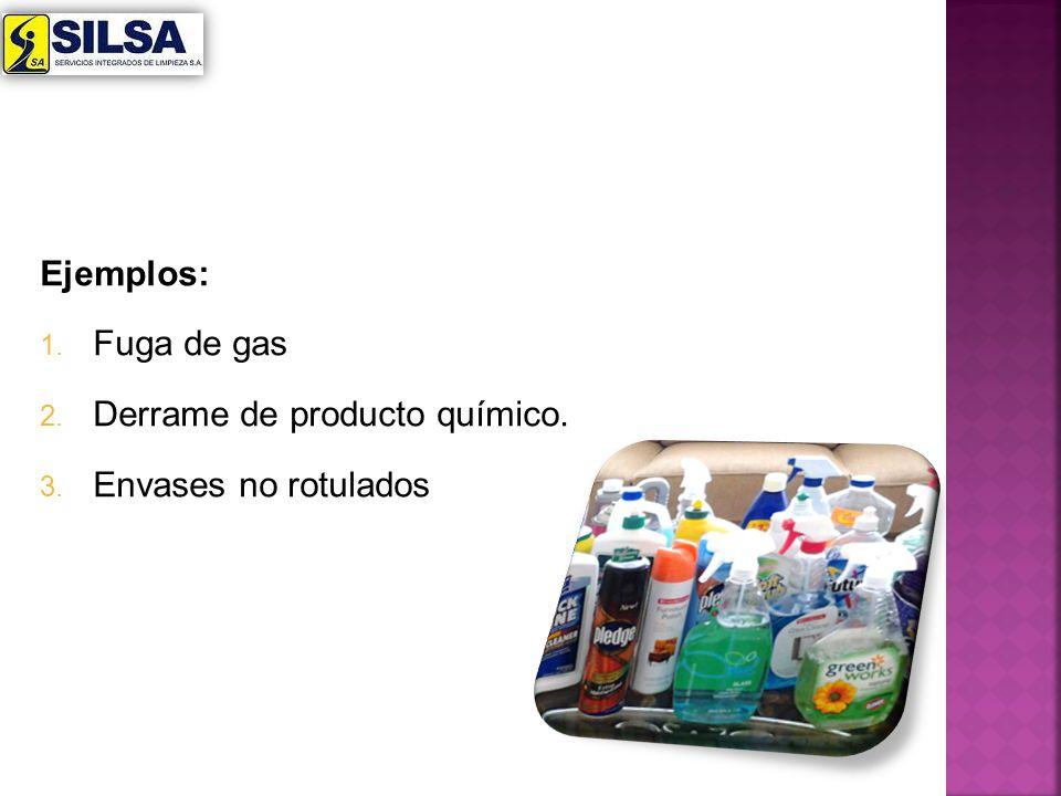 Ejemplos: Fuga de gas Derrame de producto químico. Envases no rotulados