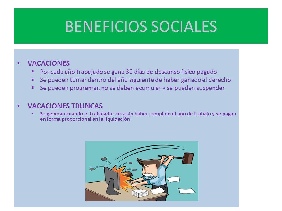 BENEFICIOS SOCIALES VACACIONES VACACIONES TRUNCAS