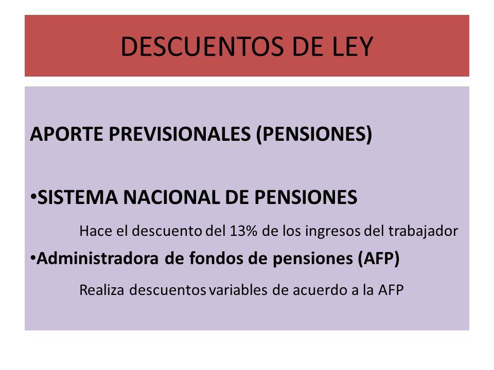 DESCUENTOS DE LEY APORTE PREVISIONALES (PENSIONES)