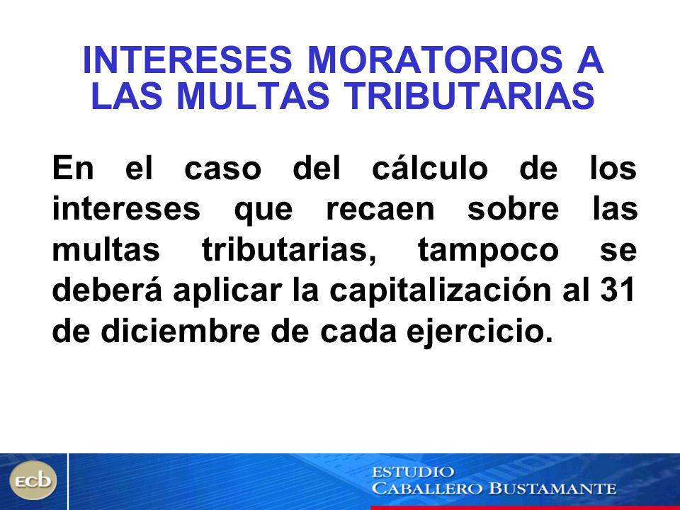 INTERESES MORATORIOS A LAS MULTAS TRIBUTARIAS