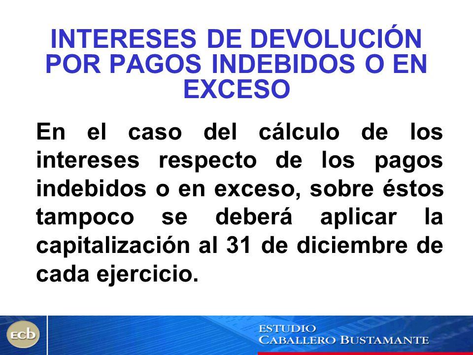 INTERESES DE DEVOLUCIÓN POR PAGOS INDEBIDOS O EN EXCESO
