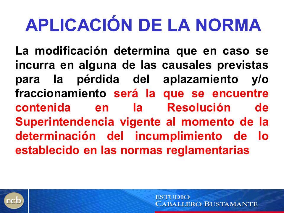 APLICACIÓN DE LA NORMA