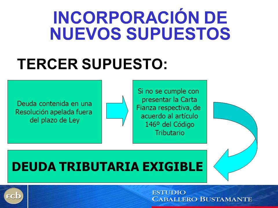 INCORPORACIÓN DE NUEVOS SUPUESTOS DEUDA TRIBUTARIA EXIGIBLE