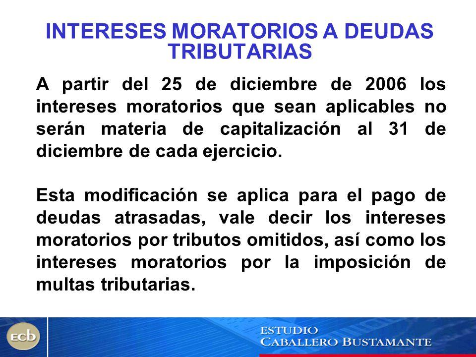 INTERESES MORATORIOS A DEUDAS TRIBUTARIAS
