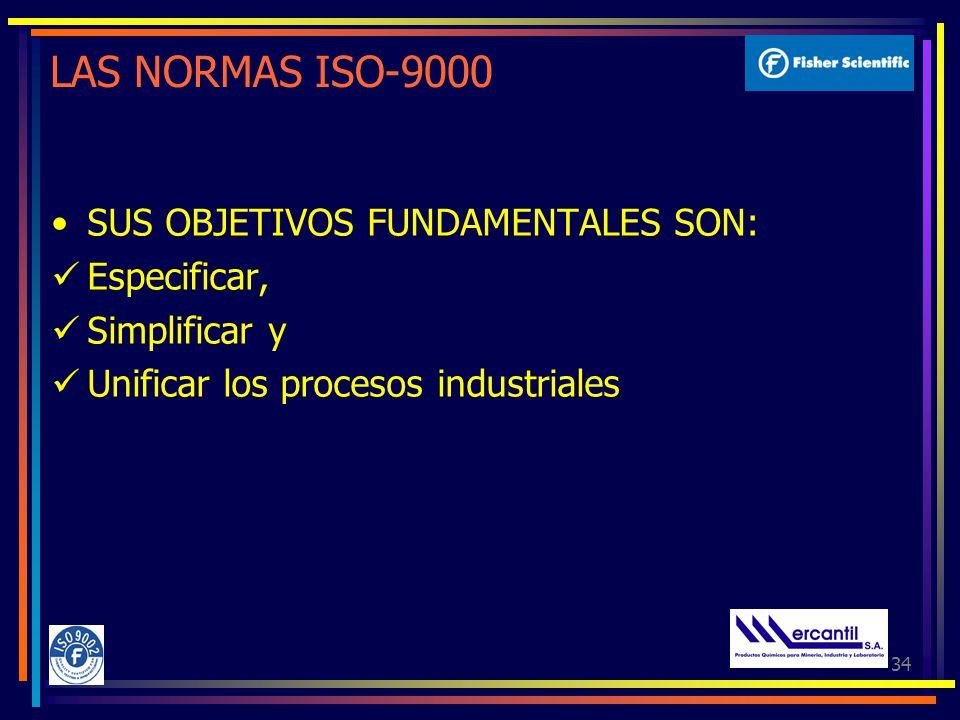 LAS NORMAS ISO-9000 SUS OBJETIVOS FUNDAMENTALES SON: Especificar,