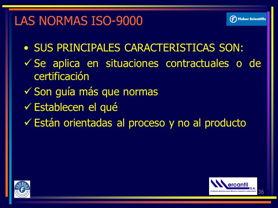 LAS NORMAS ISO-9000 SUS PRINCIPALES CARACTERISTICAS SON: