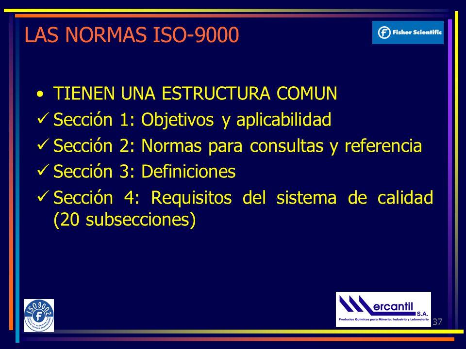 LAS NORMAS ISO-9000 TIENEN UNA ESTRUCTURA COMUN