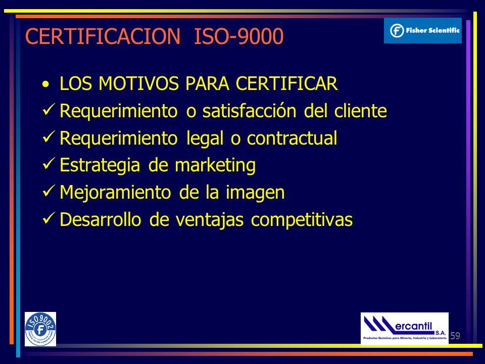 CERTIFICACION ISO-9000 LOS MOTIVOS PARA CERTIFICAR