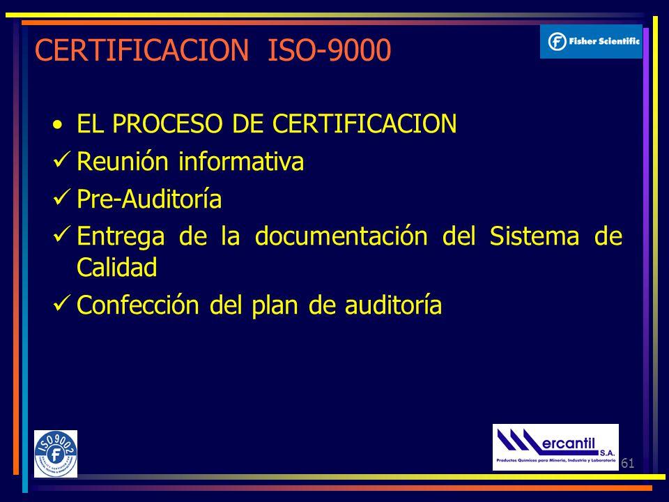 CERTIFICACION ISO-9000 EL PROCESO DE CERTIFICACION Reunión informativa