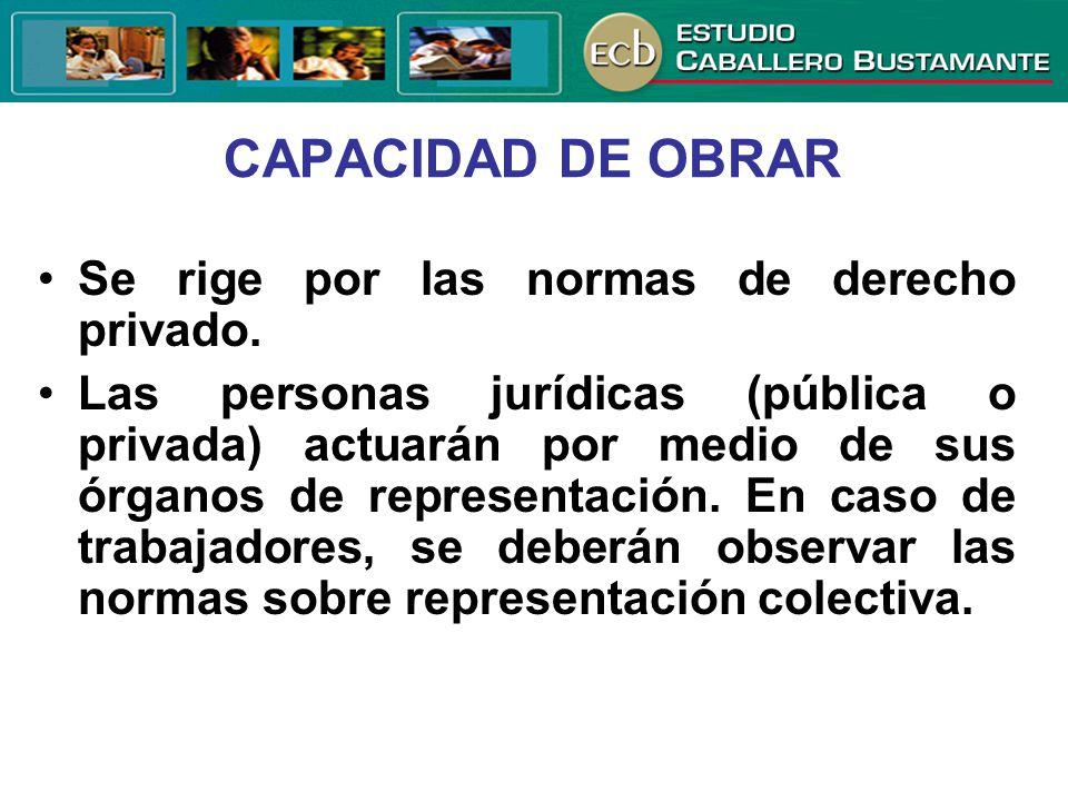 CAPACIDAD DE OBRAR Se rige por las normas de derecho privado.