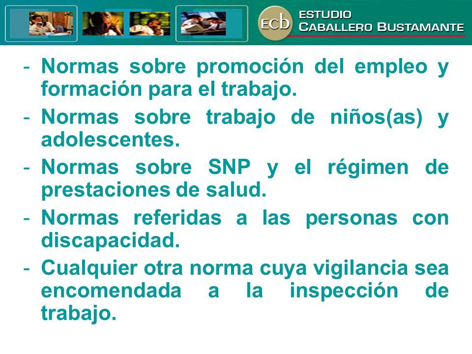 Normas sobre promoción del empleo y formación para el trabajo.