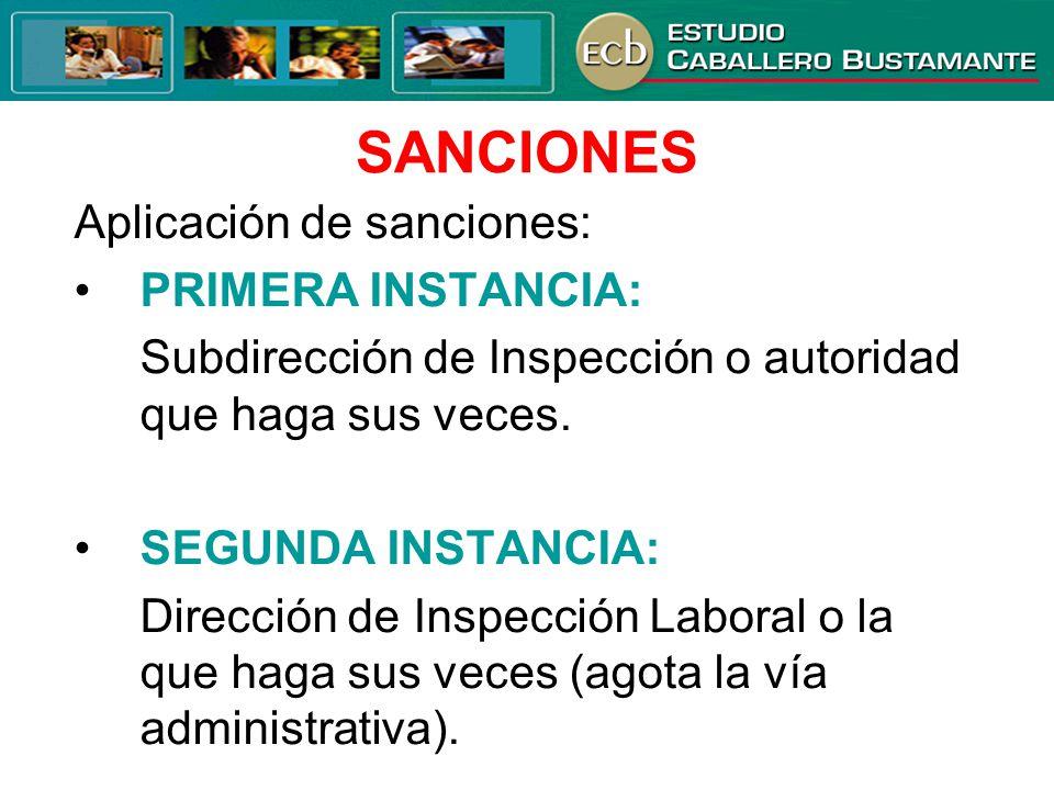 SANCIONES Aplicación de sanciones: • PRIMERA INSTANCIA: