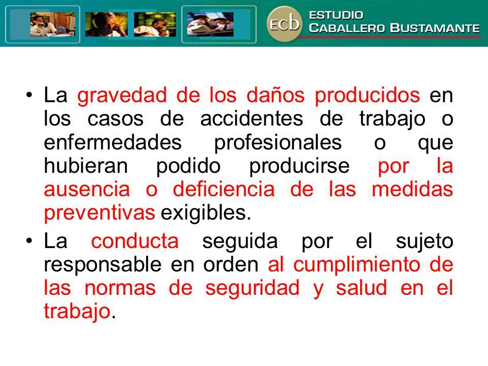 • La gravedad de los daños producidos en los casos de accidentes de trabajo o enfermedades profesionales o que hubieran podido producirse por la ausencia o deficiencia de las medidas preventivas exigibles.